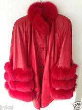 Stunning hot red real fox leather and fur cape coat  size M, VGC, RRP £1900