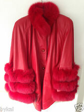 SUPERBE Hot Rouge renard véritable cuir et fourrure cape manteau taille M, Très bon état, RRP £ 1900