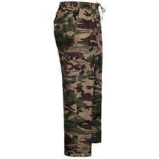 Mens Elasticated Waist Summer Cargo Combat Trousers Casual Work Bottoms Pants