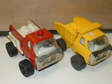 Pressed Steel Lot of 2 Toy 5in. Japan Red Fire Truck, Japan Yellow Dump 1970's