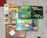 Four Vintage Board Games Pics Show Condition Quandary Prattle Tiddlywinks Retro