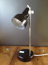 VINTAGE BROWN & CHROME POLE SLIDING HEIGHT ADJUSTABLE DESK LAMP RETRO INDUSTRIAL