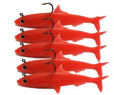 5PCS Jig Head Fishing Soft Lures Jigging Soft Silicone Wobbler Carp Bass 0.92oz