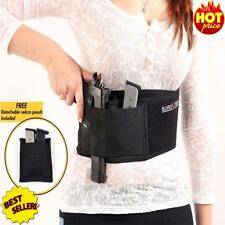 Belly Band Gun Holster w/ Metal Clip Ultra Soft Hand Gun Magazine Pocket