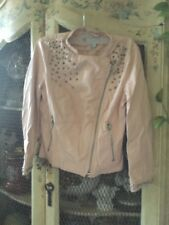 junior's jacket light pink leather silver studs Forever 21 size small coat fall