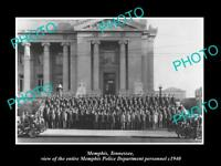 OLD LARGE HISTORIC PHOTO OF MEMPHIS TENNESSEE, THE WHOLE POLICE DEPARTMENT c1940