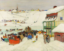Gagnon Clarence Horse Racing In Winter, Quebec Canvas 16 x 20    #3292