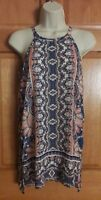 The Limited Women's White Blue Orange Floral Paisley Sheer Blouse Size XS Tall