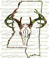 Camouflage Camo Mississippi Buck Hunter Hunting Vinyl Decal Sticker Deer Skull