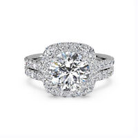 1.20 Ct Wedding Round Halo Real Diamond Ring Set 14K Solid White Gold  Band Sets