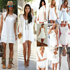 Damen Weiß Sommer Kleid Minikleid Strandkleid Cocktailkleid Freizeit Partykleid