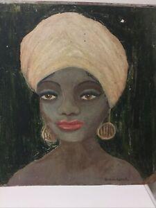 "Original Vintage Painting 35cm X 36cm 1950s BERNARDINE "" Woman Wearing Turban """