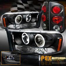 2002-2005 Dodge Ram 1500 2500 3500 Halo Projector LED Headlight+Tail Light Black