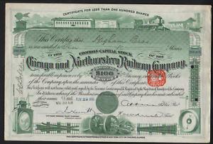 Stk Chicago & Northwestern RY 1935 Green GREAT VIGNETTES  WOW!!!