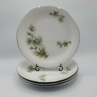 "Set of 4 Seyei Norcrest Fine China Japan CASCADE PINE 10.5"" Dinner Plates NICE"