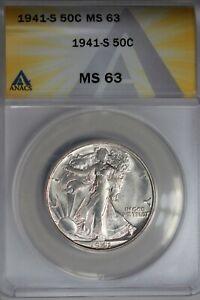 1941-S  .50   ANACS  MS 63  Walking Liberty, Half Dollar, Lady Liberty Half