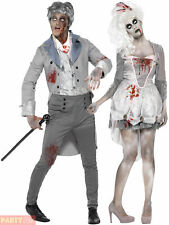 Ladies Zombie Bride Costume Ghost Victorian Lady Womens Halloween Fancy Dress