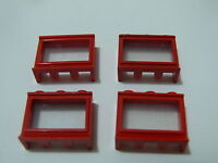 Lego 4 fenêtres anciennes rouges 375 346 345 810 700 / 4 old red windows