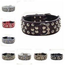 3 Rows Rivets Studded Leather Dog Collars for Medium/Large Dogs, Multiple Colors