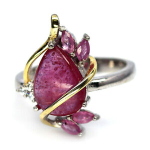 NATURAL 8 X 12 mm. PINK RED RUBY, SAPPHIRE & CZ 925 SILVER TWO TONE RING SZ 6