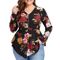 Fashion Women's Plus Size Printed Long Sleeve Zipper V-Neck Chiffon Tops Blouse