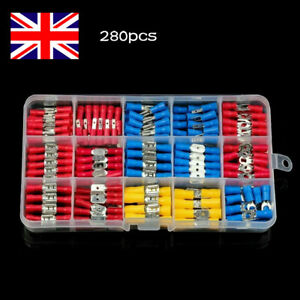 280Pcs Assorted Insulated Electrical Wire Terminals Crimp Connectors Spade Kit