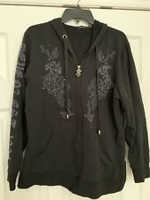 Seven7 Luxe 18 20 Black Stretch Cotton Zip Graphic Bling Hoodie Top Pouch Pocket