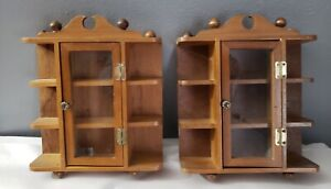 2-Vintage Miniature Wood Display Curio Cabinet Wall or Table Glass Door 8x7''