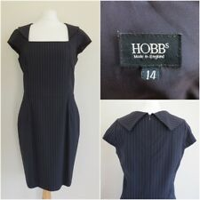 HOBBS Pinstripe Navy Wool Blend Smart Dress UK Size 14 Office Career Suits