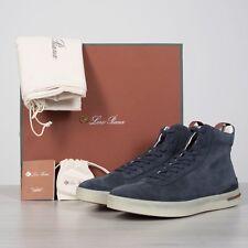 LORO PIANA 1050$ 70's High Top Walk Sneakers In Rainfall Blue Suede