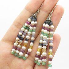 Vtg 925 Sterling Silver Real Gemstone Long Multi Strand Dangling Earrings