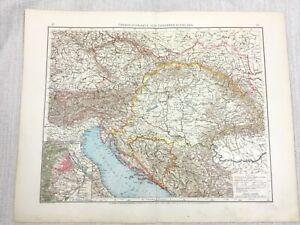 1896 Antique Map of The Austro Hungarian Empire Original German 19th Century