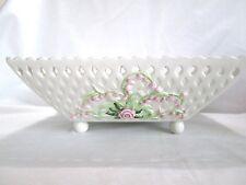 vintage fitz floyd ceramic basket weave bowl