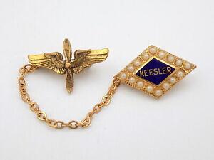 Original WWII US Army Air Force Kessler Field Pilot Lapel Pin