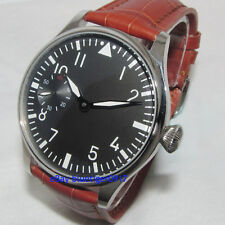Vintage 44mm Parnis Man's Hand Winding Seagull 6497 Movement Watch Luminous Dial