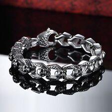 """8.5"""" Mens Stainless Steel Gothic Devil Skull Link Chain Heavy Bracelet +Box B308"""