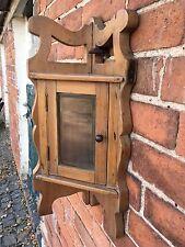 Antique Pine Glazed Corner Wall Cupboard Cabinet