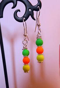 neon EARRINGS silver plated HOOKS glass 80's 90's 35mm  drop RETRO CLUBBING
