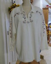 Teddi Woman's White Plus Size 1X Blouse W/Embroidered & Button Trimmings (NWT)
