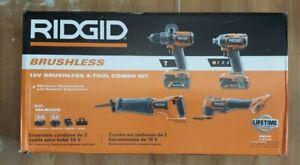 RIDGID R9225 18V Brushless Cordless 4-Tool Combo Kit w/2 Batteries,Tool Bag  New