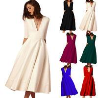 Plus Size Womens Deep V Neck Half Sleeve Cocktail Evening Party Swing Slim Dress