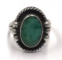 Vintage Oxidized Navajo Sterling Silver Turquoise Halo Rope Dotted Cocktail Ring