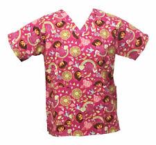 Nickelodeon Nursing Pediatric Scrubs Shirt Top Dora Pink XL