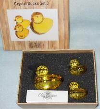 Oleg Cassini Signed Yellow Ducky Glass Duck Set Paperweights (Set of 3) NIB