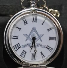 MASONIC POCKET WATCH SILVER IN COLOUR SQUARE & COMPASS WITH FAITH HOPE & CHARITY