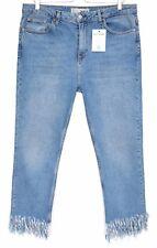 Topshop Moto STRAIGHT LEG Fringe Hem Blue Mid Rise Crop Jeans Size 12 W30 L34