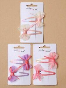 2 Filles Cheveux Barrettes .voile / Mousseline Noeud Pince Snappies Choix