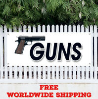 GUNS Advertising Vinyl Banner Flag Sign Gun Rifle Pistol Firearms Buy Sell Ammo