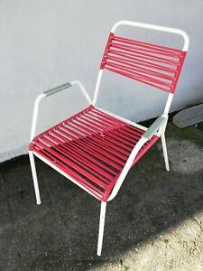 50er 60er Spaghetti Garten Stuhl Stahlrohr Sessel Vintage Midcentury Shabby Chic