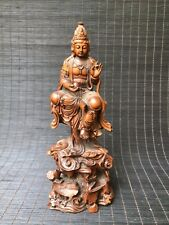 Chinese Antique Boxwood Hand-carved sitting mountain Guanyin Buddha statue